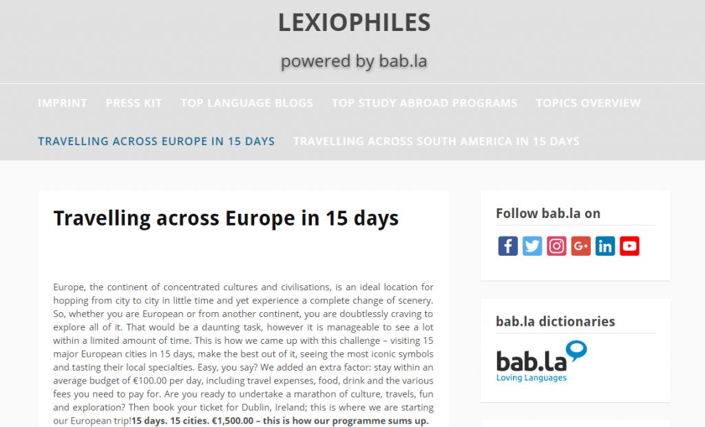 europe in 15 days bab.la